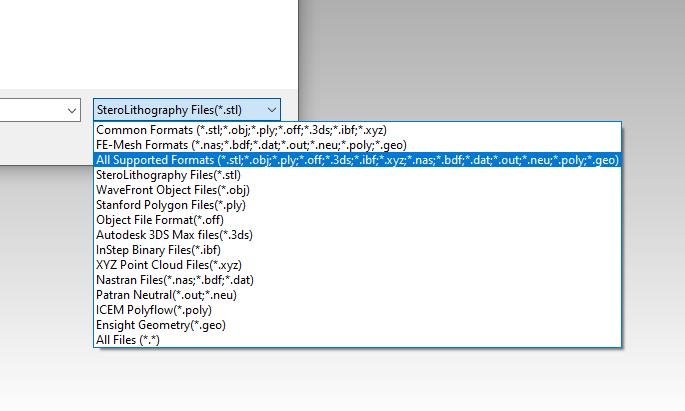 Multiple Mesh Formats STEP STL